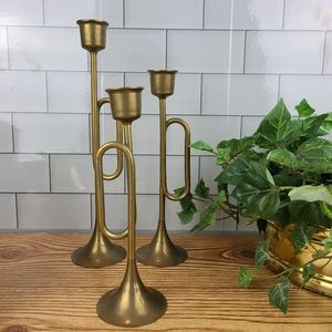 Vintage brass trumpet candlestick holder